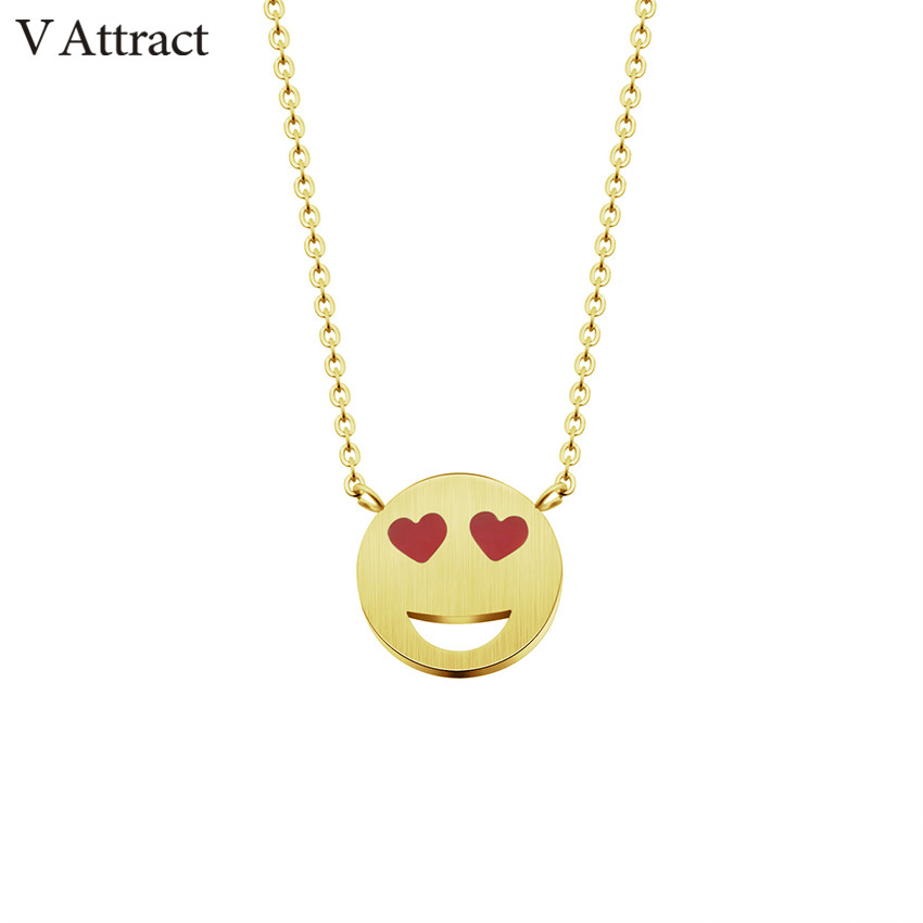 V Attract Gold Chain Smiling Face Statement Necklace Women Men Expression Jewelry Stainless Steel Kettingen Voor Vrouwen