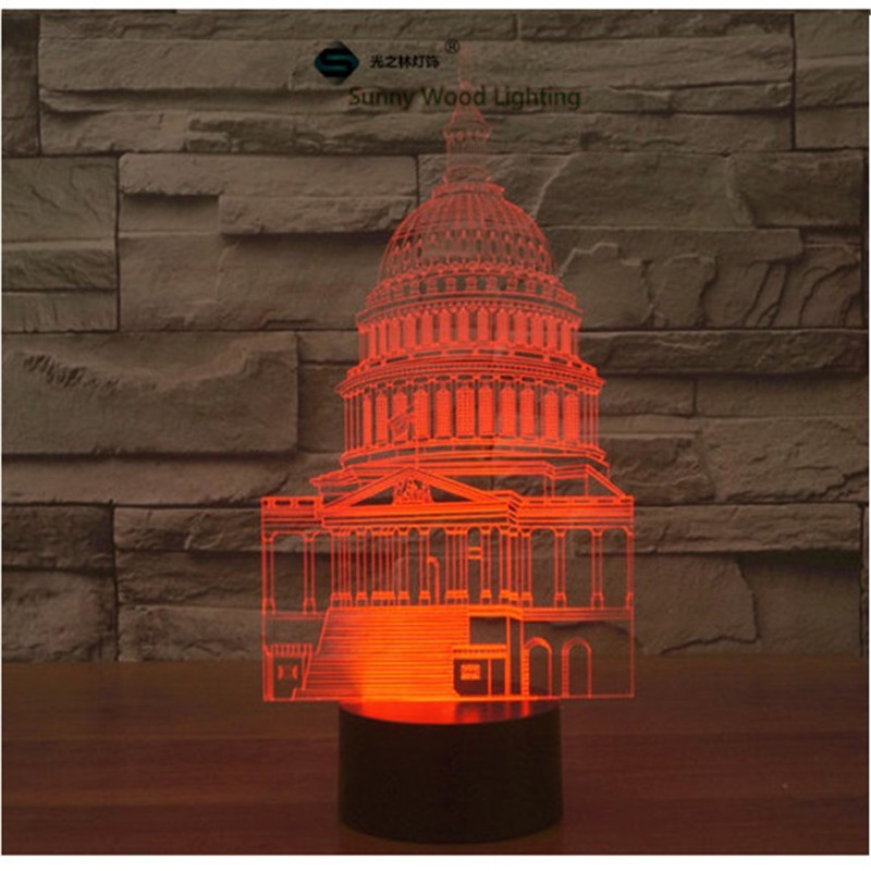 White House touch switch LED 3D lamp ,Visual Illusion 7color changing 5V USB for laptop, desk decoration toy lamp