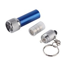 2 pcs 5 LED Mini Flashlight Torch Key Chain Key Ring Blue Brand New(China)