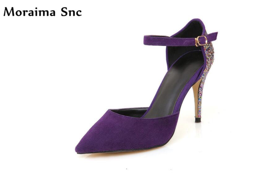 Moraima Snc colorful bling vintage suede sexy women pumps pointed toe thin high heel Ankle strap buckle party shoes faux suede platform buckle strap sexy thin high heel pumps fashion round toe party shoes women red black