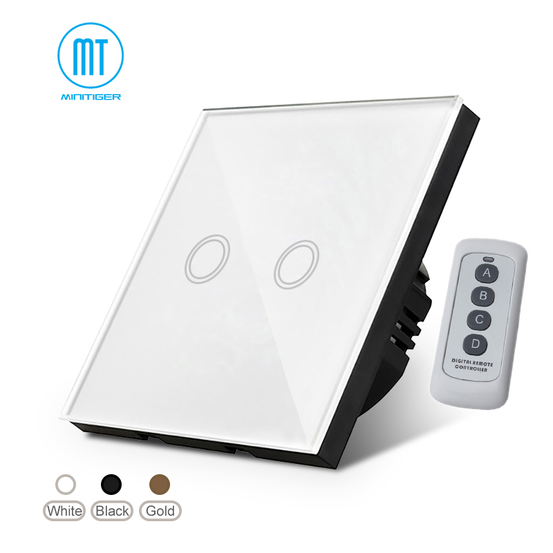 EU Standard Wand Licht Touchscreen Schalter, Weiß Kristall Glas-Panel, 170 ~ 250 V + Led-anzeige, fernbedienung Wand touch schalter