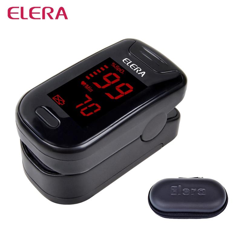 ELERA CE Digital Finger Pulse Oximeter Blood Oxygen SpO2 Saturation PR Oximetro Monitor oximetro de dedo+Case