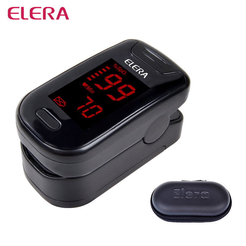 ELERA Digitale CE Finger Pulsossimetro Ossigeno Nel Sangue SpO2 PR Saturazione Oximetro Monitorare oximetro de dedo + Caso