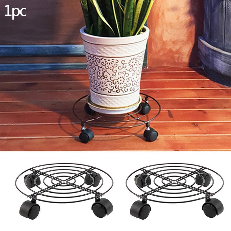 Hot Plant Pots Holder Rack Round Wheels Mover Trolley Caddy Garden Plate Metal Holding Stand Drop Shipping 0702 In Pot Trays From Home On