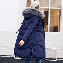 2017 Winter Women  Fur Collar Thicken Warm Long Jacket women's coat girls long slim big fur coat jacket Down Jacket