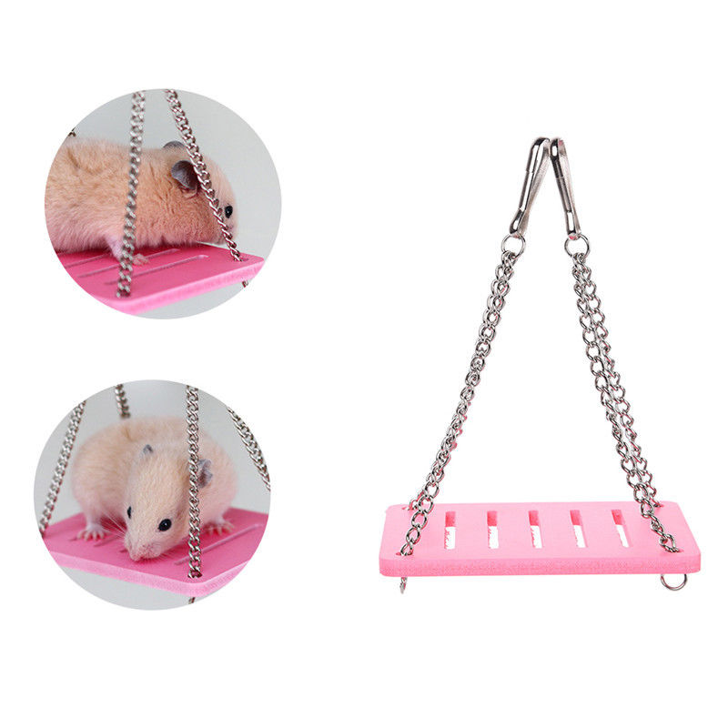 Pet Wooden Hamster Mouse Swing Hammock Toys Mayitr Small Animal Cage Hanging Seesaw Funny Toys 3 cOlors