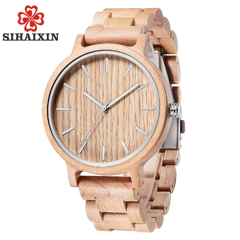 SIHAIXIN Handmade Maple Wood Watch For Men Top Brand Luxury Full Bamboo Wrist Wooden Quartz Men Watches Casual Clocks Male Gift simple handmade wooden nature wood bamboo wrist watch men women silicone band rubber strap vertical stripes quartz casual gift page 2
