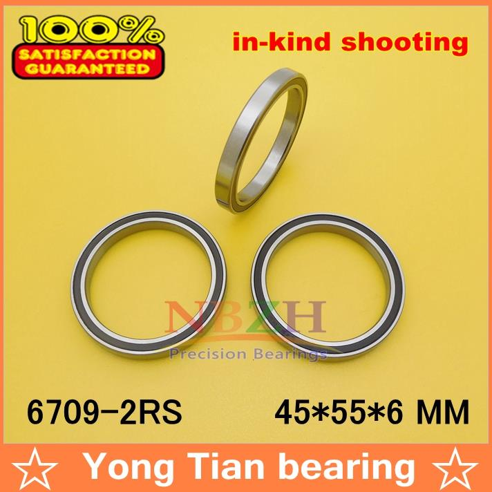 10pcs free shiping The high quality  ABEC-3 of ultra-thin deep groove ball bearings 6709-2RS 45*55*6 mm gcr15 6326 open 130x280x58mm high precision deep groove ball bearings abec 1 p0