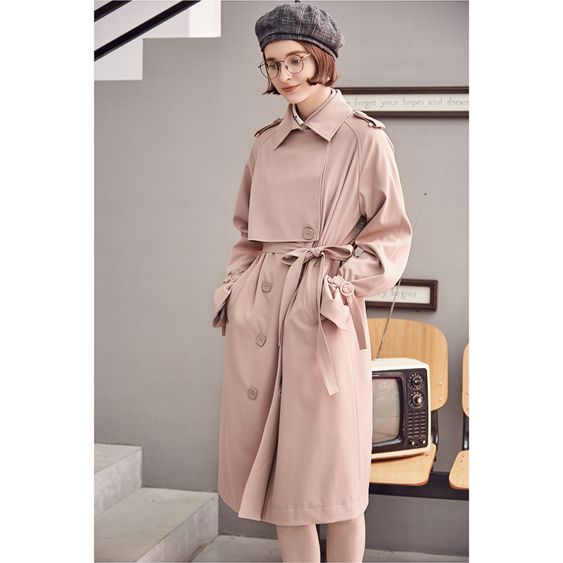 ARTKA 2018 Autumn and Winter New Solid Pink Double-breasted Back Embroidery Loose Waist Women's Trench FA10181Q