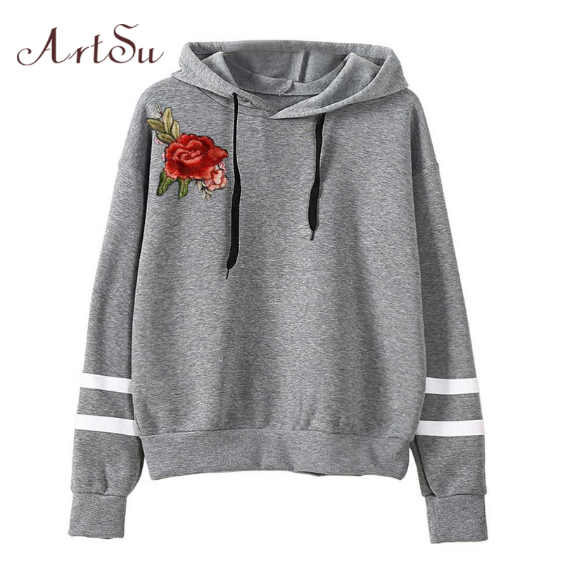 ArtSu Embroidery Floral Long Sleeve Sweatshirt Women Hooded Hoodies Stripe Casual Streetwear Pullover Sweatshirt Black ASHO20174