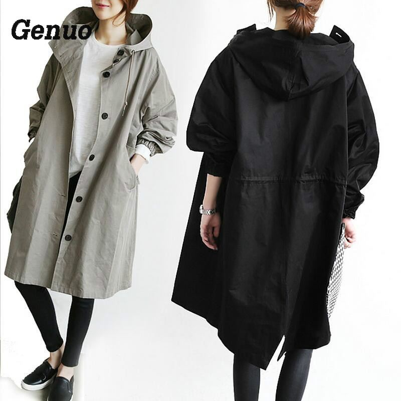 Genuo 2018 New Spring Autumn   Trench   Women Hoodie   Trench   Coat Casual Oversize Long Basic Windbreaker loose plus size outwear