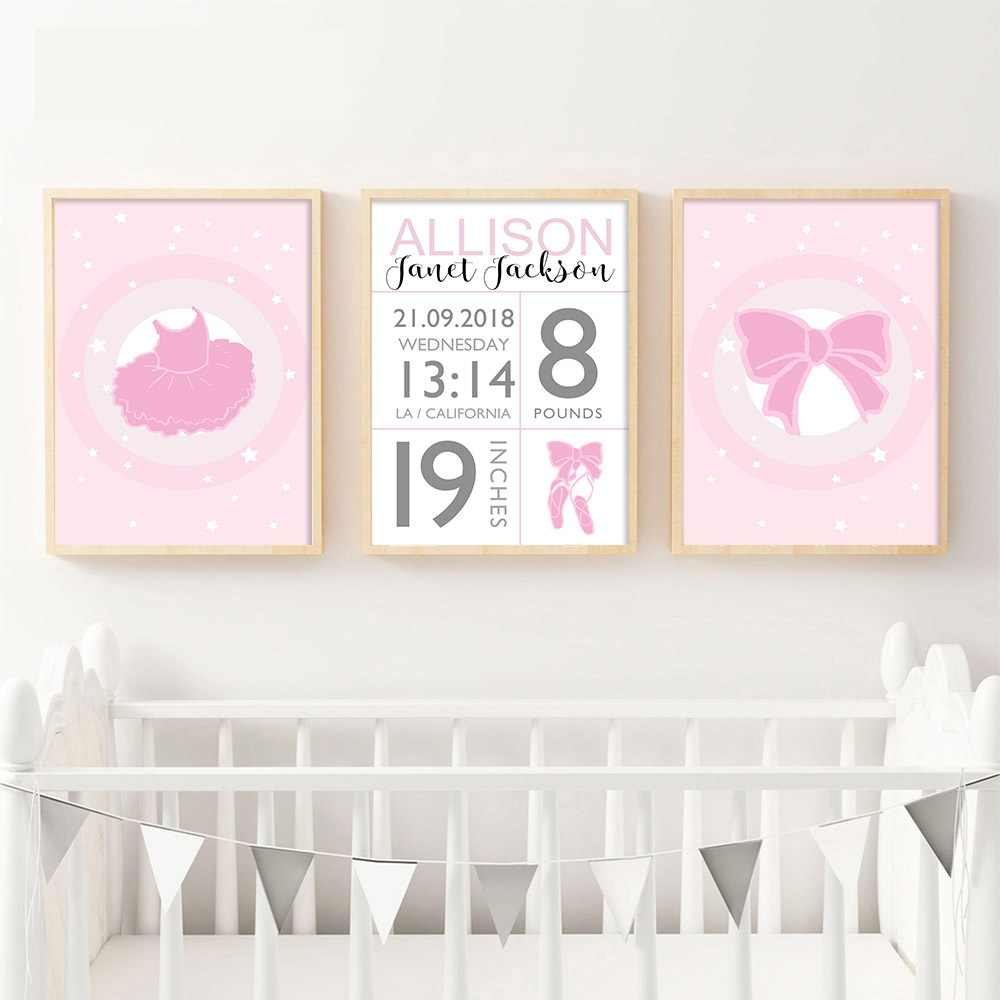 Baby Birth Stats Custom Poster Cartoon Pink Nursery Canvas Art Print Painting Wall Picture Girls Room Decoration