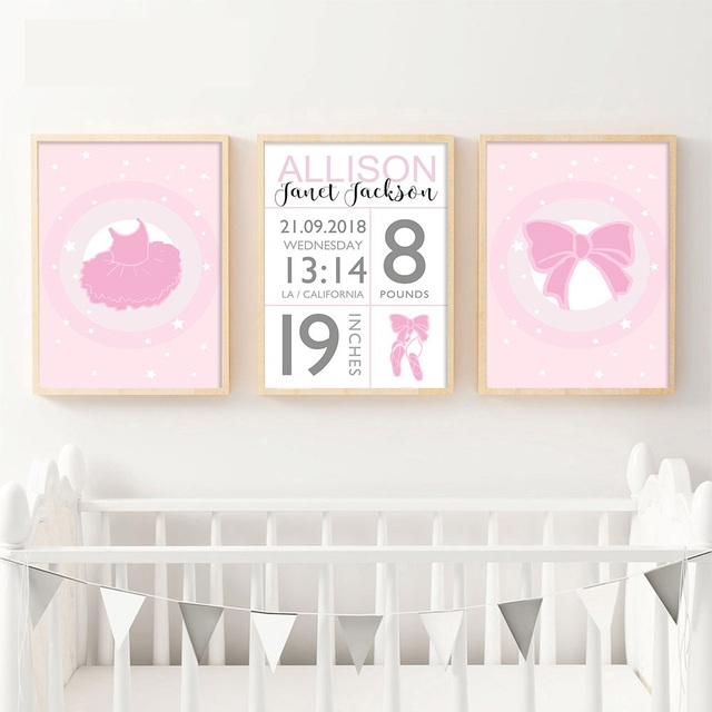 Baby Birth Stats Custom Poster Cartoon Pink Nursery Canvas Art Print Painting Wall Picture S Room