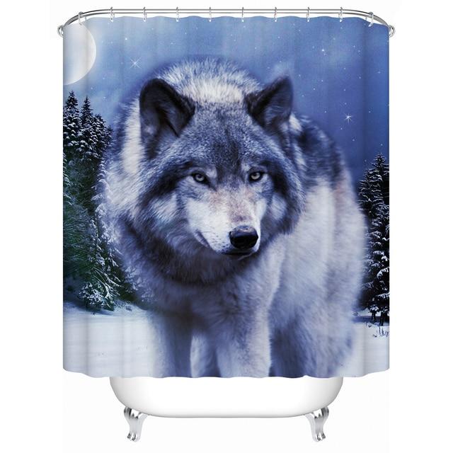 charmhome umweltfreundliche stoff dusche vorhang verschneiten nacht wolf akzeptabel personalisierte benutzerdefinierte duschvorhnge badezimmervorhang - Stoff Vorhang Dusche