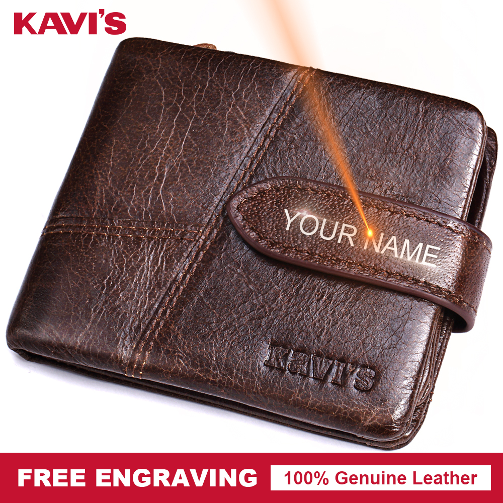 KAVIS Brand Free Engraving Genuine Leather Wallet Man Hasp Coin Purse Magic Thin Male Walet Portomonee Gift For Men Women Perse