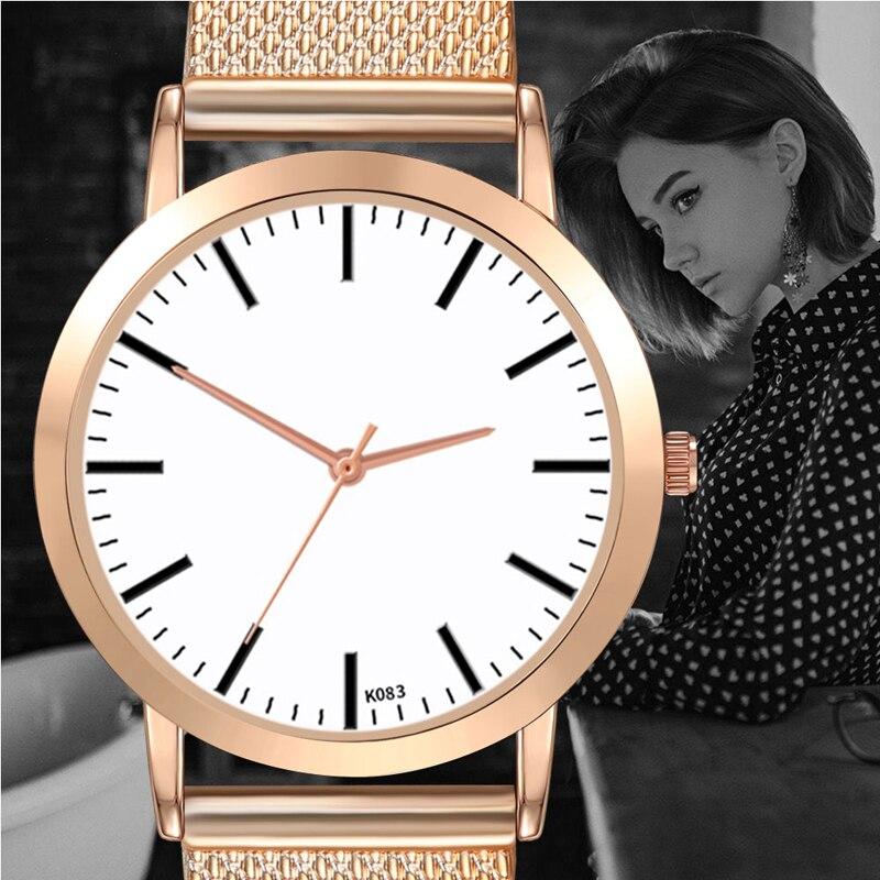 Retro Women Watch Simple Minimalism Classic Casual Exquisite Rose Quartz Mesh Strap WristWatch Ladies Gift Relogio Feminino in Women 39 s Watches from Watches