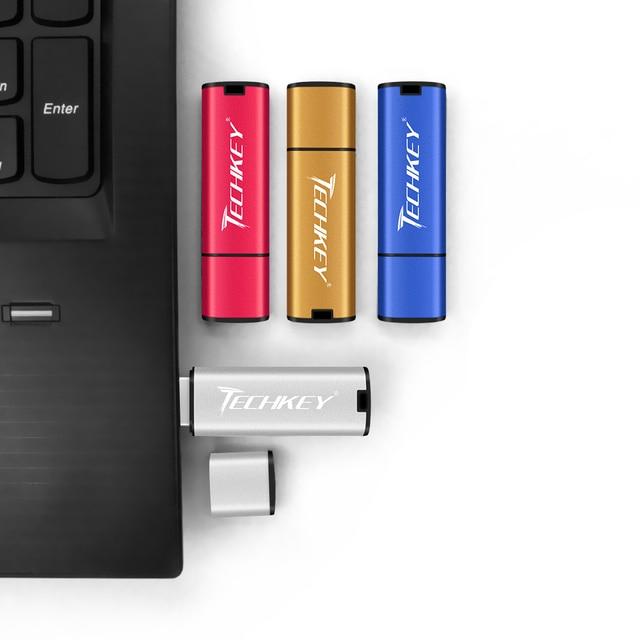 Techkey usb flash drive 32gb pen drive 64gb 16gb 8gb 4gb colorful flash disk cle usb Storage device High-Speed memory stick 4