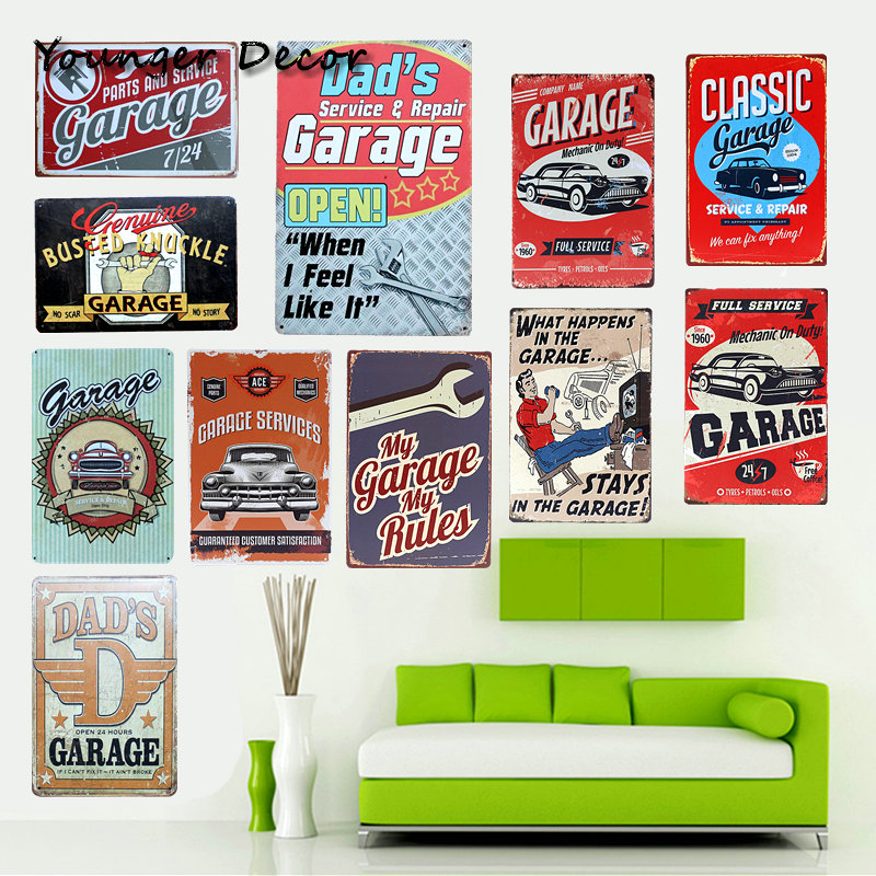 Dad's Garage Open Retro Metal Tin Sign Classic Car Bus Garage Service & Repair Wall Decoration Art Painting Iron Plaques YA094