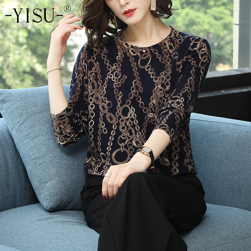 YISU Spring Autumn Sweater Women O Neck Long Sleeve Loose Thin Knitting Sweater Female Tops Pullover Knitwear Printed Sweater
