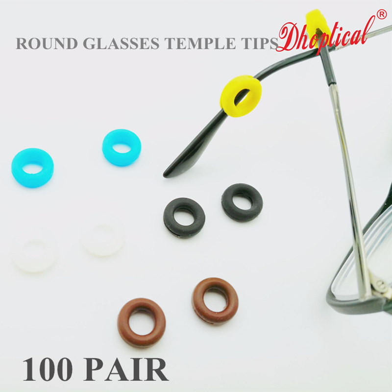 100pcs round colorful eyeglasses temples tips ,silicone temple tips avoid glasses slip sport equipment by dhoptical