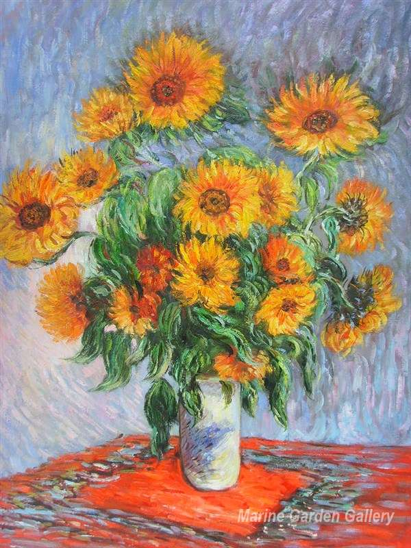 flower oil painting by claude monet sunflowers 1881 canvas