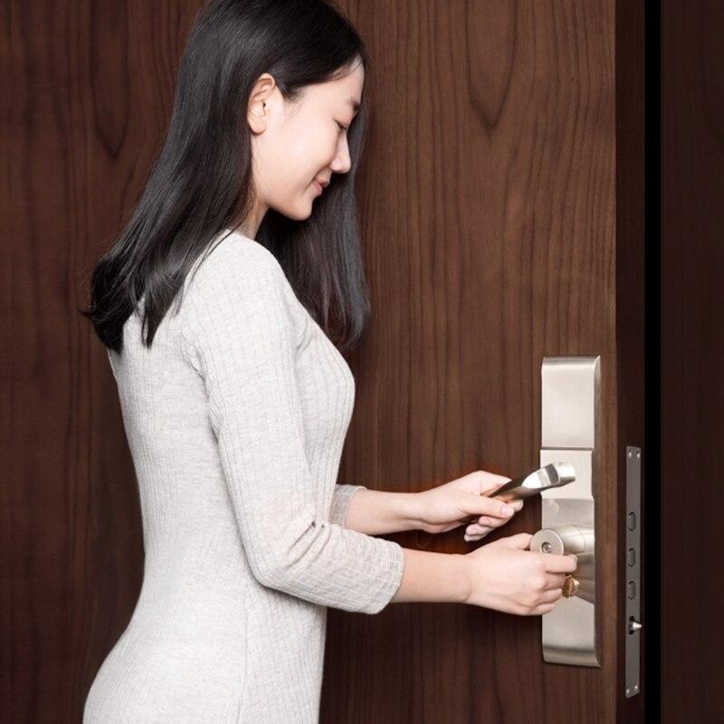 Original xiaomi mi jia aqara cerradura inteligente puerta de seguridad del hogar práctico Anti-robo Puerta de bloqueo núcleo con llave con mi aplicación de inicio - 6