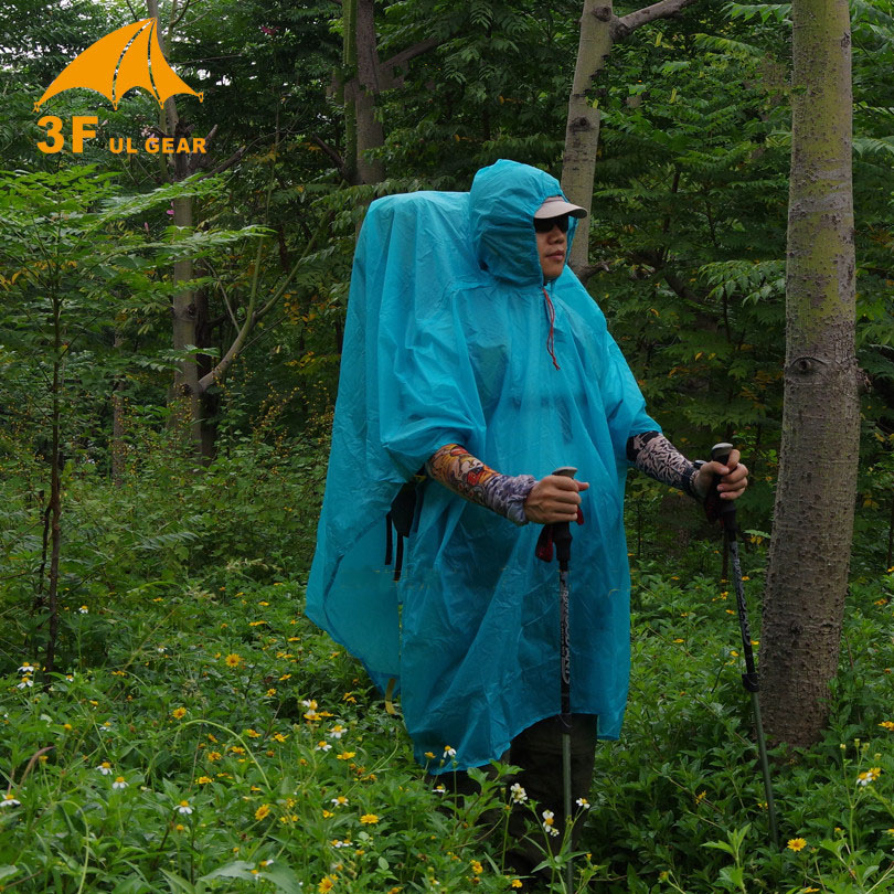 3F Ul Single Person Ultralight Hiking Cycling Raincoat Outdoor Awning Camping Mini Tarp Sun Shelter 15D Silicone 210T Taffeta