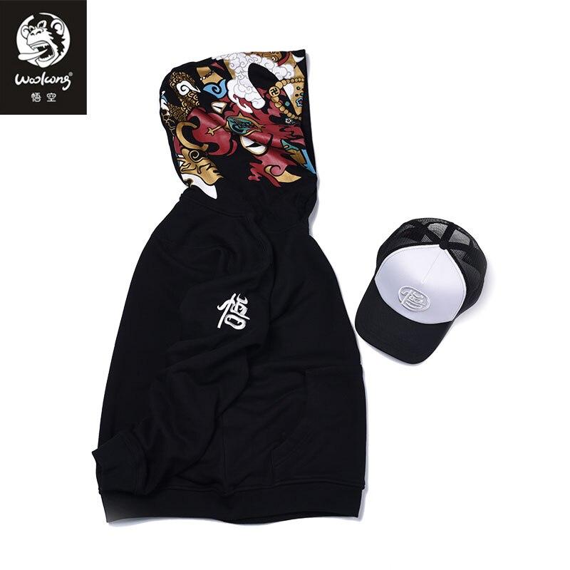 The Wookong 2017 luxury New brand sweatshirt men hoodies black china cattle Devil print man fashion clothing Y-W015