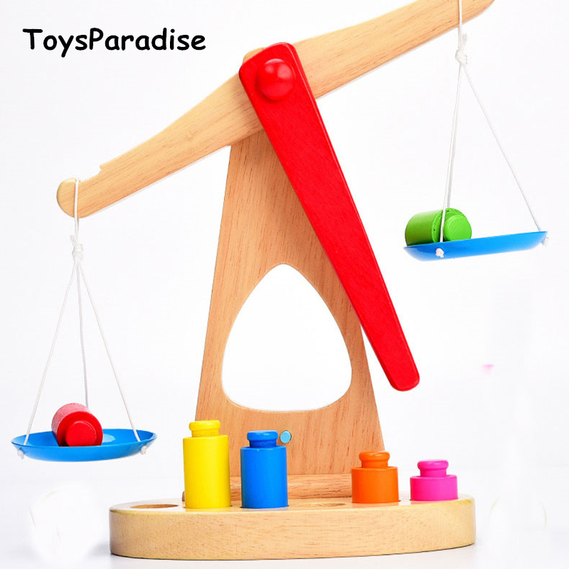 Wooden Scale Digital Balance Baby Wooden Toys For Kids Classic Balancing Game Blocks Educational Math Toy Child Learning Gift