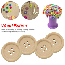 New arrival 50 pcs Natural Color Wooden Buttons handmade round shape and 4-holes wood button craft DIY baby apparel accessories