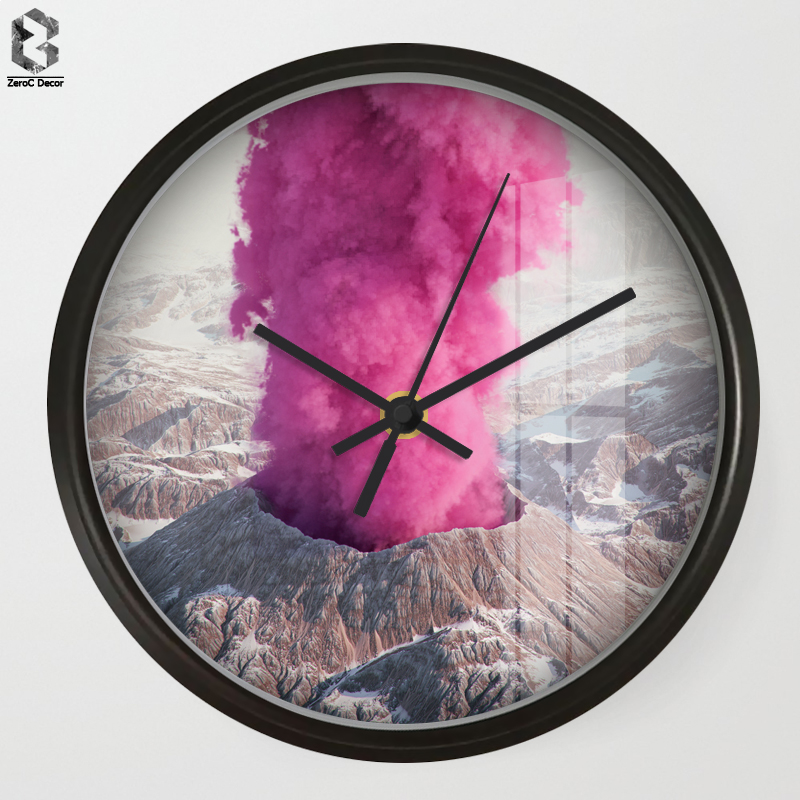 Chic Art Wall Clock Pink Volcano For Kids Room Wall Decor Nursery