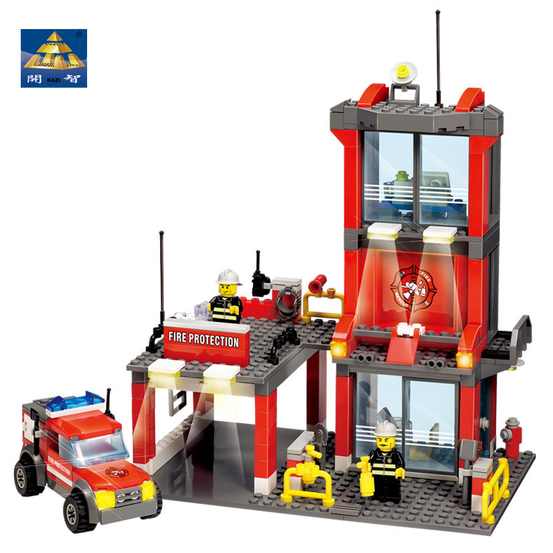KAZI 8052 City Fire Station 300pcs Building Blocks Compatible all brand city Truck Model Bricks Firefighter toys for children kazi 6726 police station building blocks helicopter boat model bricks toys compatible famous brand brinquedos birthday gift