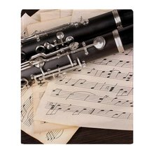 Musical Notes And Clarinet On Wooden Soft Fleece Throw Blanket Solid 350G Thicker Blankets on Sofa/Bed Throw Blanket