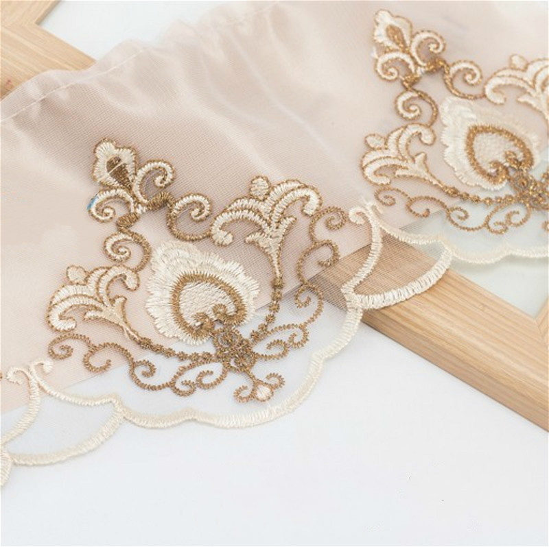 17cm Wide Peach Heart Cotton Gauze Embroidery Tulle Lace Clothing Curtain Decoration Side Mesh Sofa Cover Sequin DIY Accessories in Lace from Home Garden