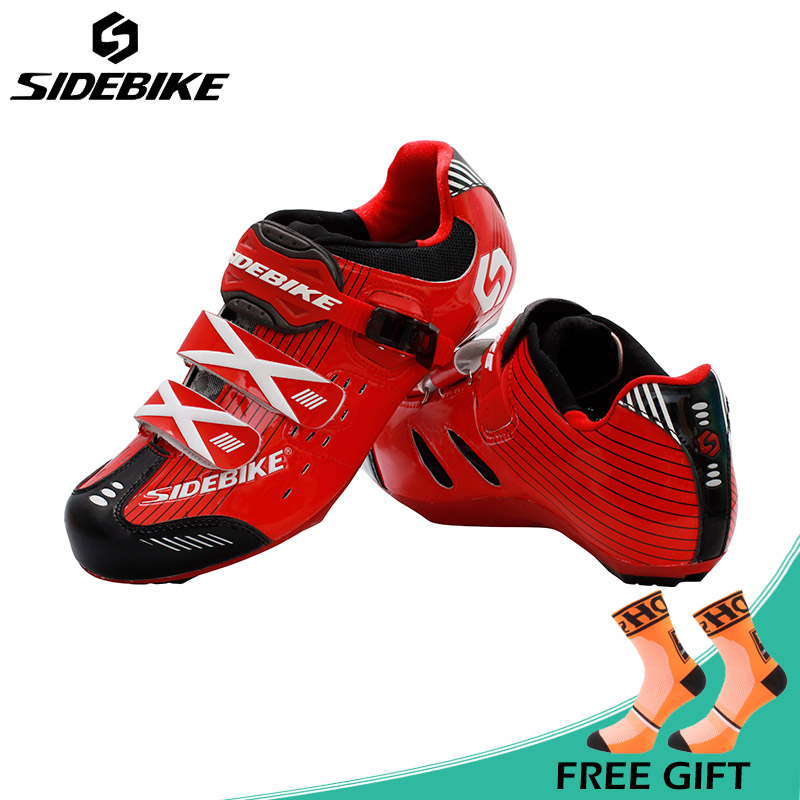 Sidebike Ultralight Road Cycling Shoes Men Anto-lock Bike Shoes Hook&Loop Design Breathable Bicycle Shoes Boots Zapatos ciclismo