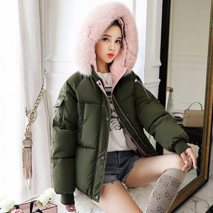 Image 4 - b 2020 Short Cotton padded Jacket Fashion Winter Jacket for Women Fur Collar Coat Women Black Womens Outerwear Parka