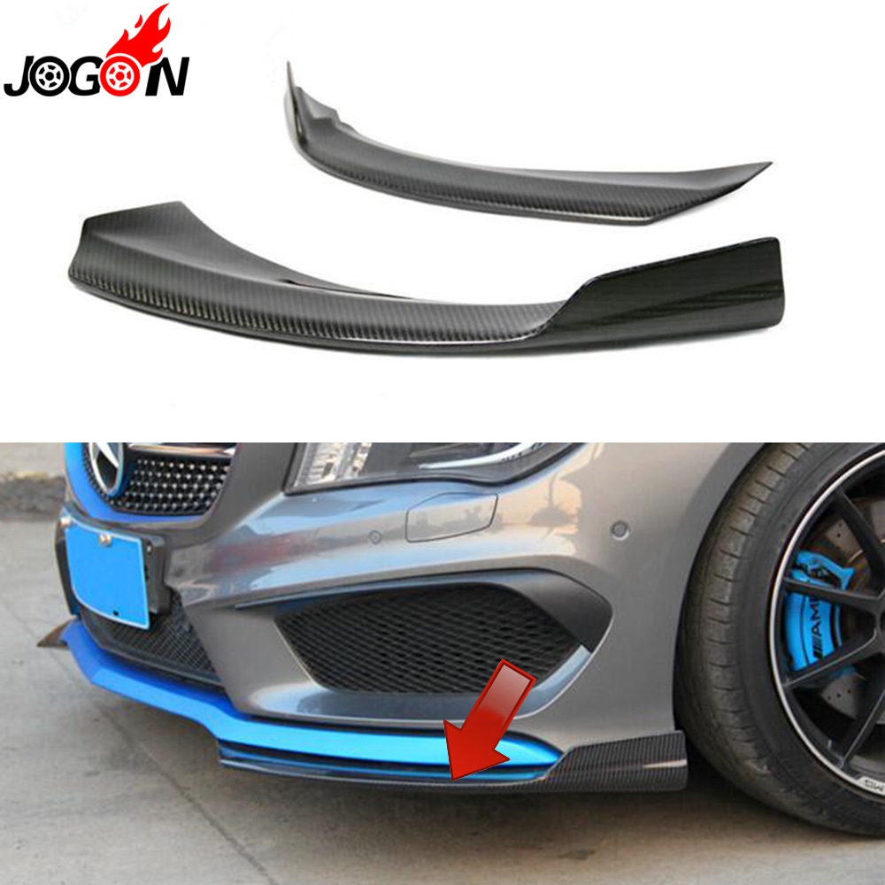 Carbon Fiber For Mercedes Benz CLA Class C117 CLA180 CLA250 CLA200 CLA45 Sedan 2014 2015 Front Bumper Lip Spoiler Corner Trim 6x 3d gloss twill carbon fiber b pillar trim for mercedes benz fit e class w212 09 14