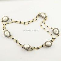 Moda FAI DA TE 3 Pz Oro Colore Nero Catene di Cristallo Pavimenta Strass Pearl Beads Charm Collane Individuazione Dei Monili
