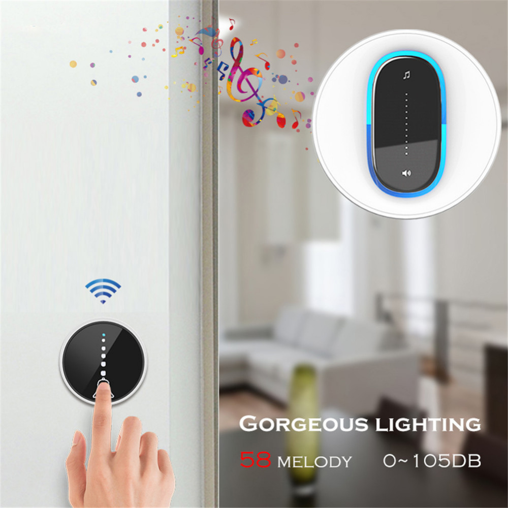 SMATRUL self powered Waterproof Wireless DoorBell night light no battery EU plug home Cordless Door Bell 1 2 button 1 2 Receiver 1