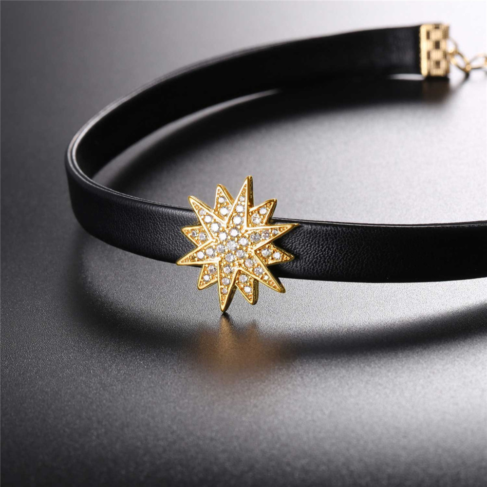 Schwarz leder halsband für frauen Gold farbe kreuz charme mode halskette halsreifen N40G