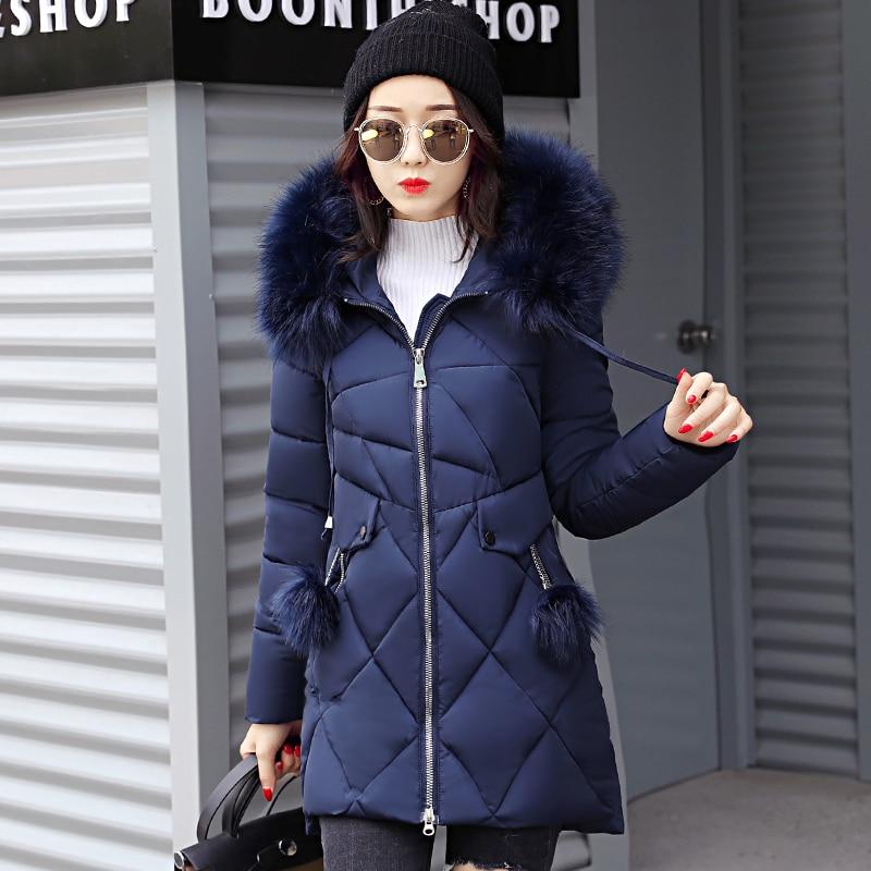 2019 warm thicken big fur collar women winter jacket long with hood outerwear for women coat high quality womens   parka   long