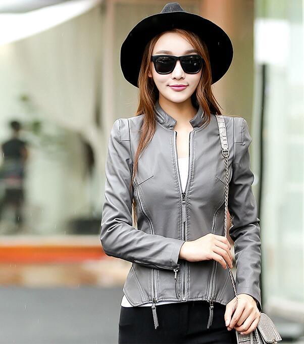 2018 New Autumn Leather Jacket Women Black Color Mandarin Collar Zippers Short Female Faux Leather Jackets 3