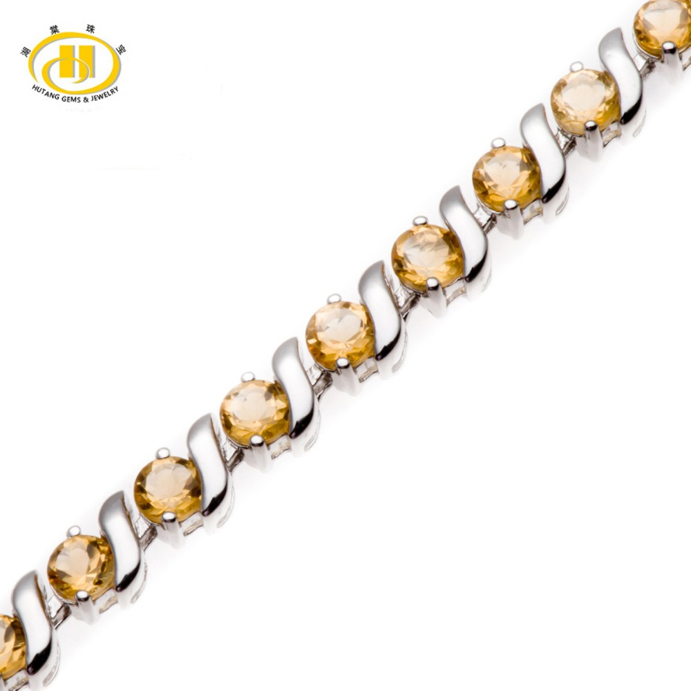 Hutang Stone Jewelry 6.96 Ct Genuine Gemstone Citrine Solid 925 Sterling Silver