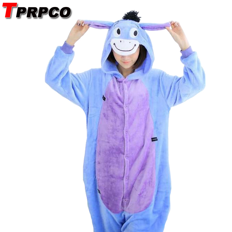 TPRPCO Unisex Men Women Adult Pajamas Cosplay Costume Animal Onesie Eeyore Donkey Sleepwear NL1591