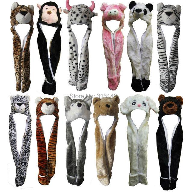 Cartoon Plush Animal Full Hood Kids Winter Warm Hat Womens Child Costume Beanie with Hand Pockets Scarf Mittens Gloves Earmuffs