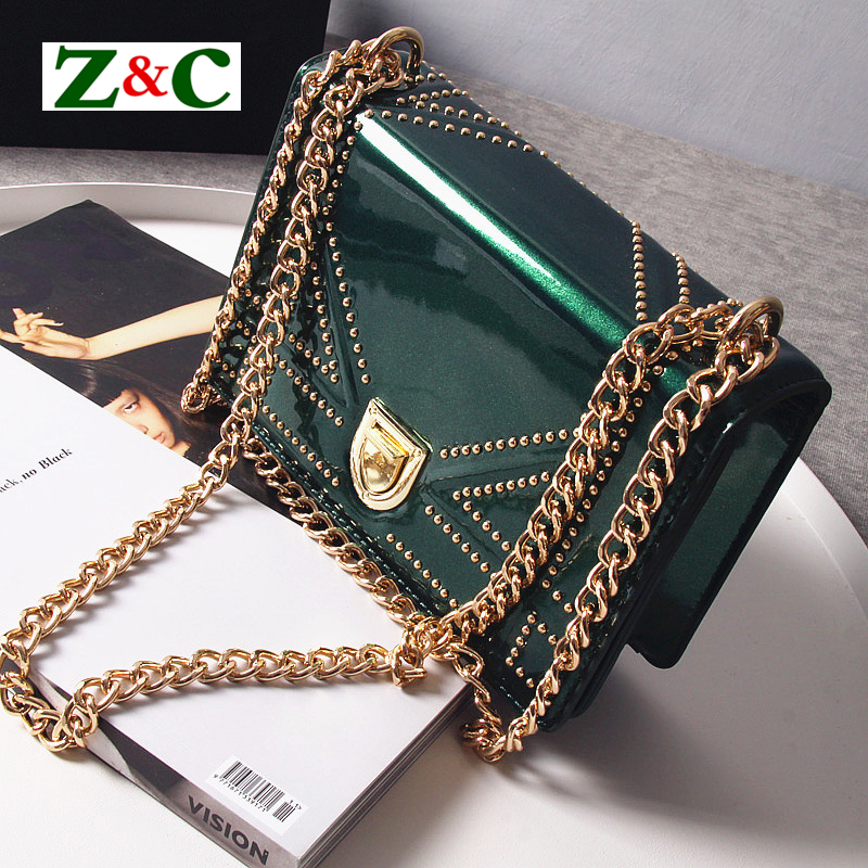 2018 Newest Luxury Fashion Patent Leather Women Bags Famous Designer Rivet Chic Chain Shoulder Messenger Bag Female Green Clutch 2017 luxury handbags black women bags designer women s bag rivet chain messenger shoulder bags female skull clutch famous brand