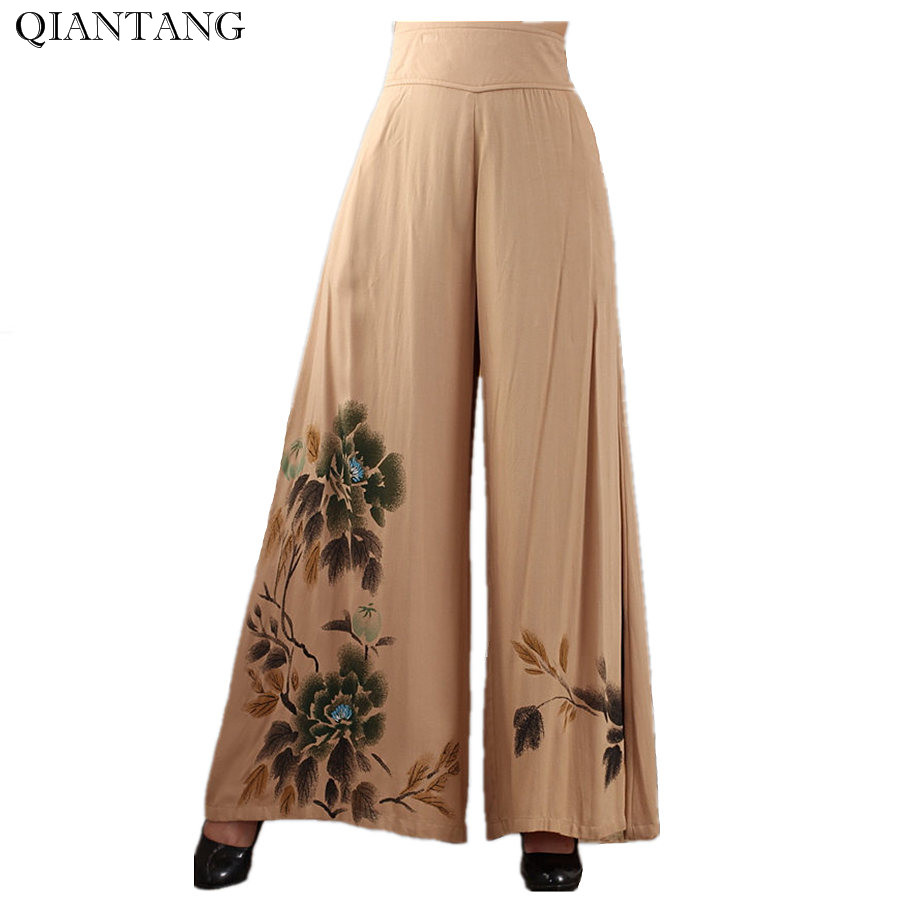 New Arrival Camel Chinese Women Cotton Pants Classic Loose Wide Leg Trousers Elastic Waist Pants Flowers Size M L XL XXL 2369 2