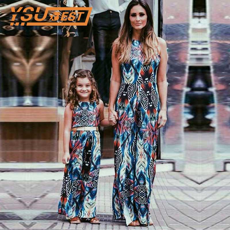 แม่ลูกสาวเสื้อผ้าชุดครอบครัวชุดพิมพ์ Sundress เด็กทารกและแม่ฤดูร้อน Beach Maxi ชุดเด็ก Mom