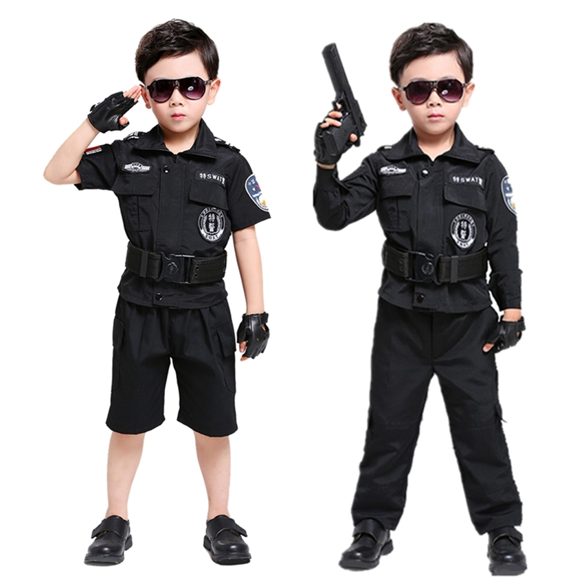 110-170cm Kids Boys Military Uniform Policemen Cosplay Costumes Halloween Army Suit Special Force Swat Clothing Set For Children Warm And Windproof