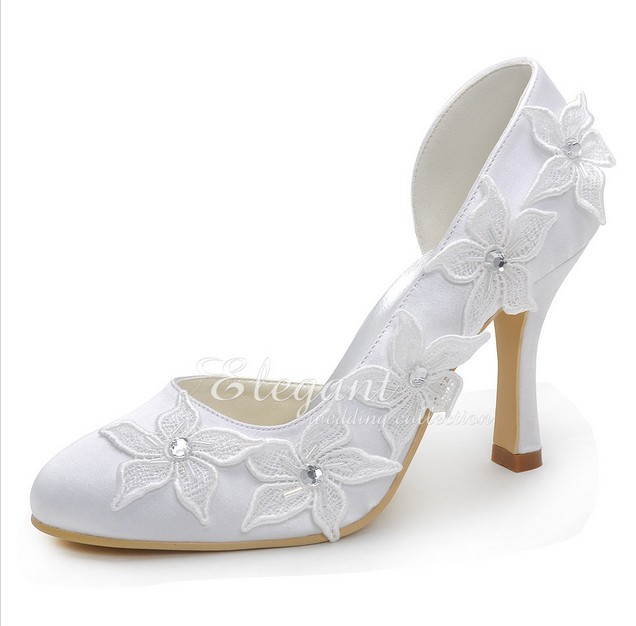 Sparkling White Bridal Dress Shoes High Heel Lady Party Dress Shoes Lovely Flower Elegant Satin Wedding Shoes Plus Size Pumps fashion white lady peep toe shoes for wedding graduation party prom shoes elegant high heel lace flower bridal wedding shoes